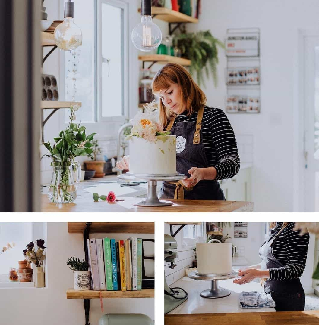 Bunston Bakes decorating a wedding cake in her kitchen in Sussex