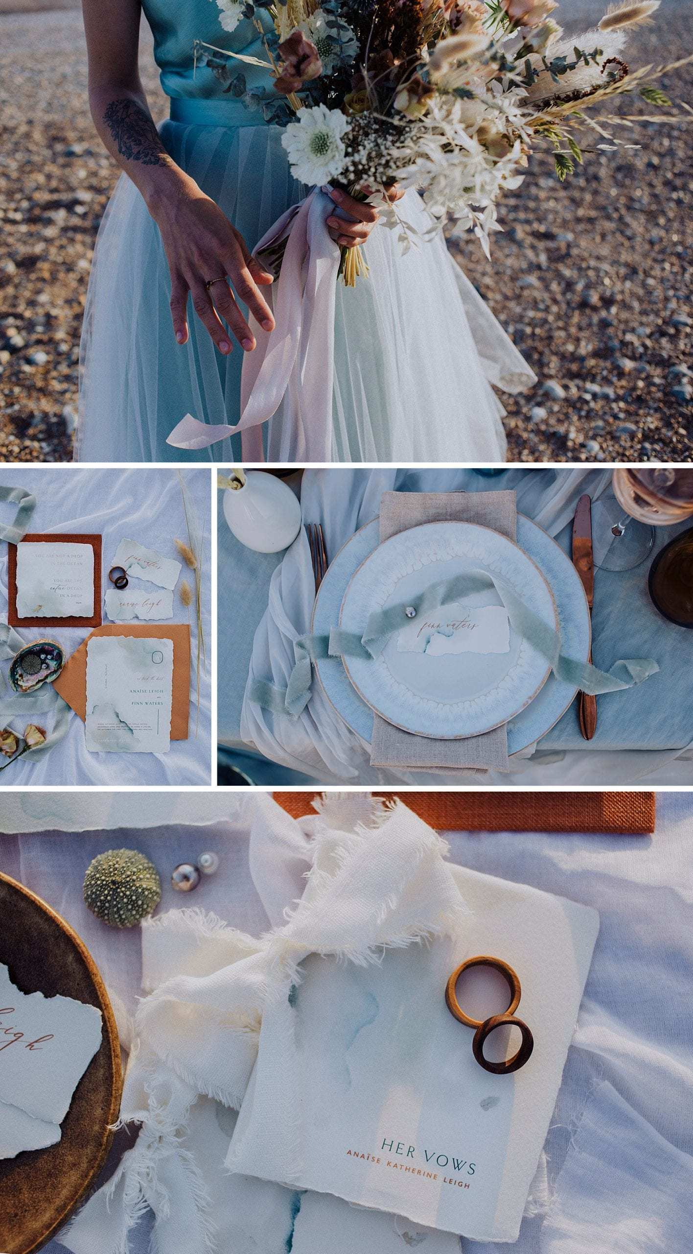Table setting, wedding flowers and styling for a coastal elopement