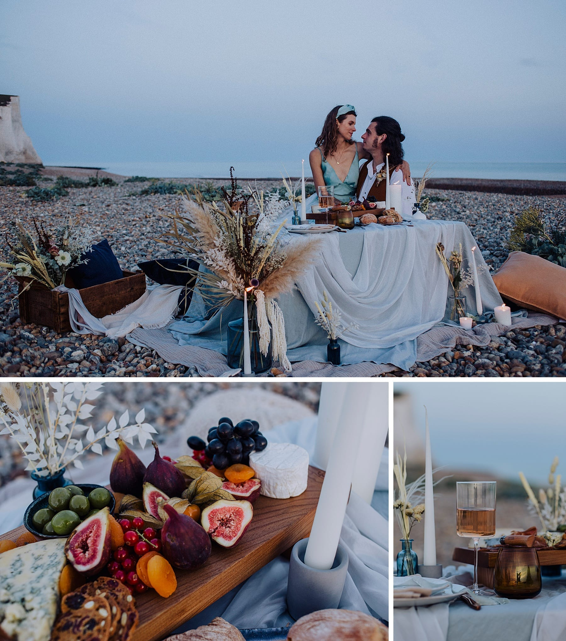 Wedding picnic for two on the beach at Seven Sisters