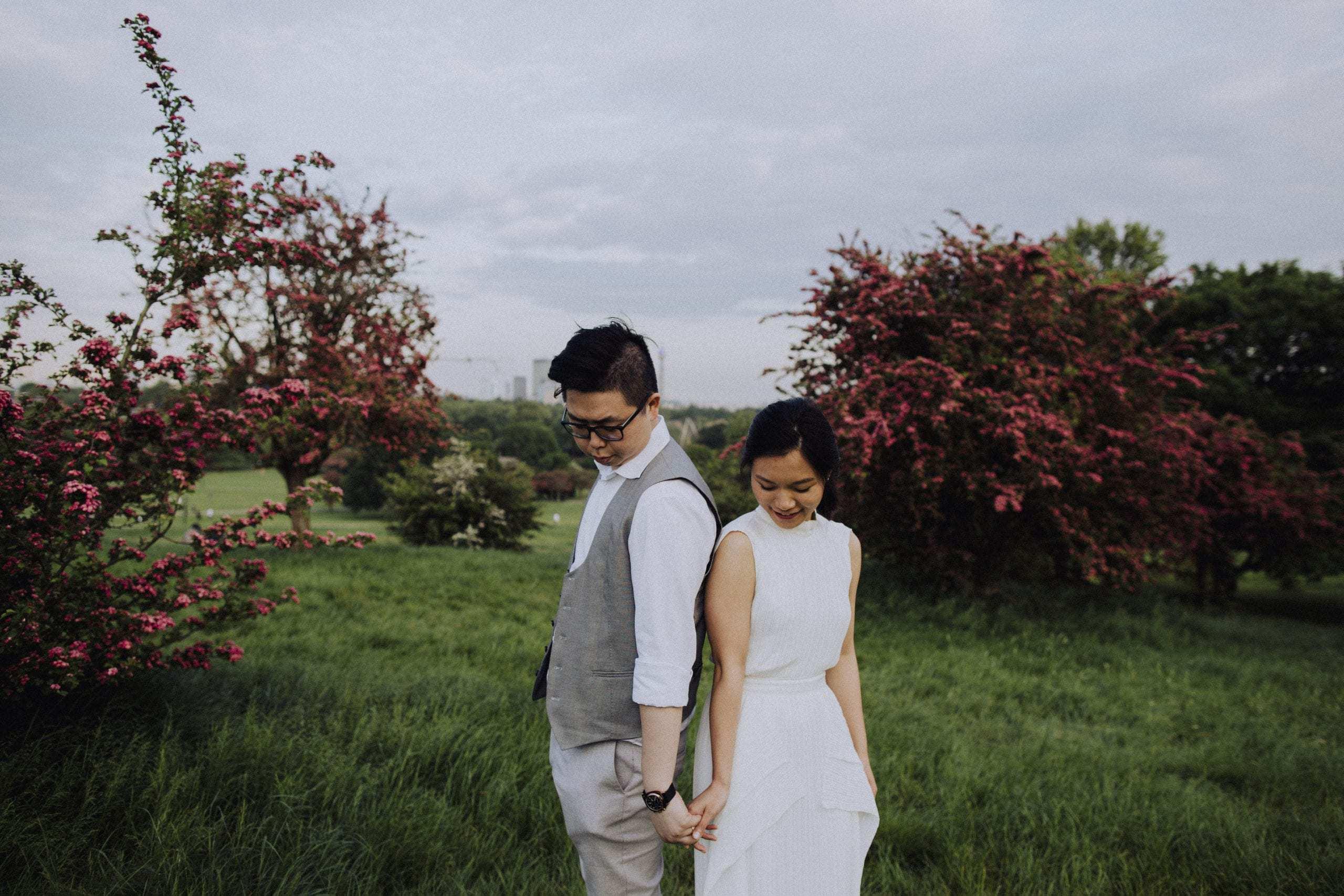 Wedding photo of couple at Primrose Hill in Lonon
