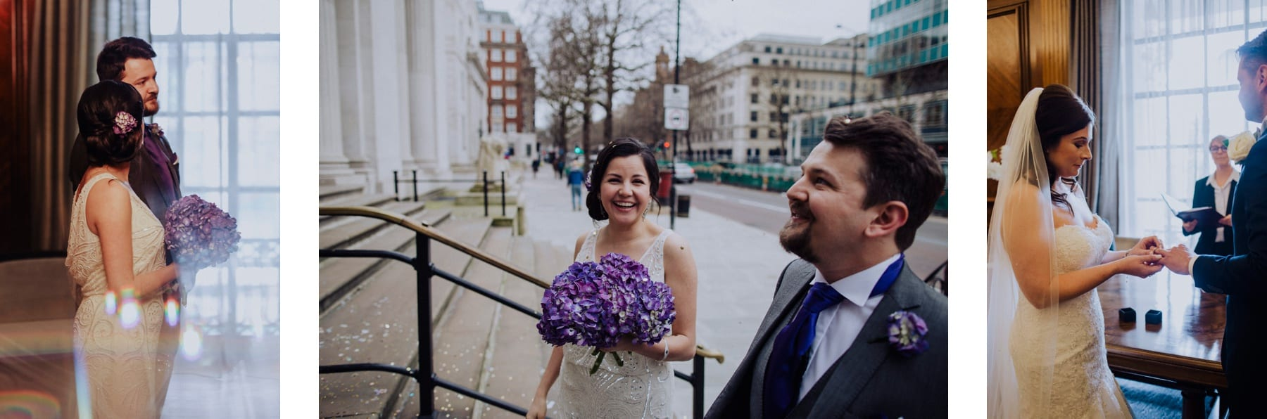 Couple getting married at Hackney Town Hall