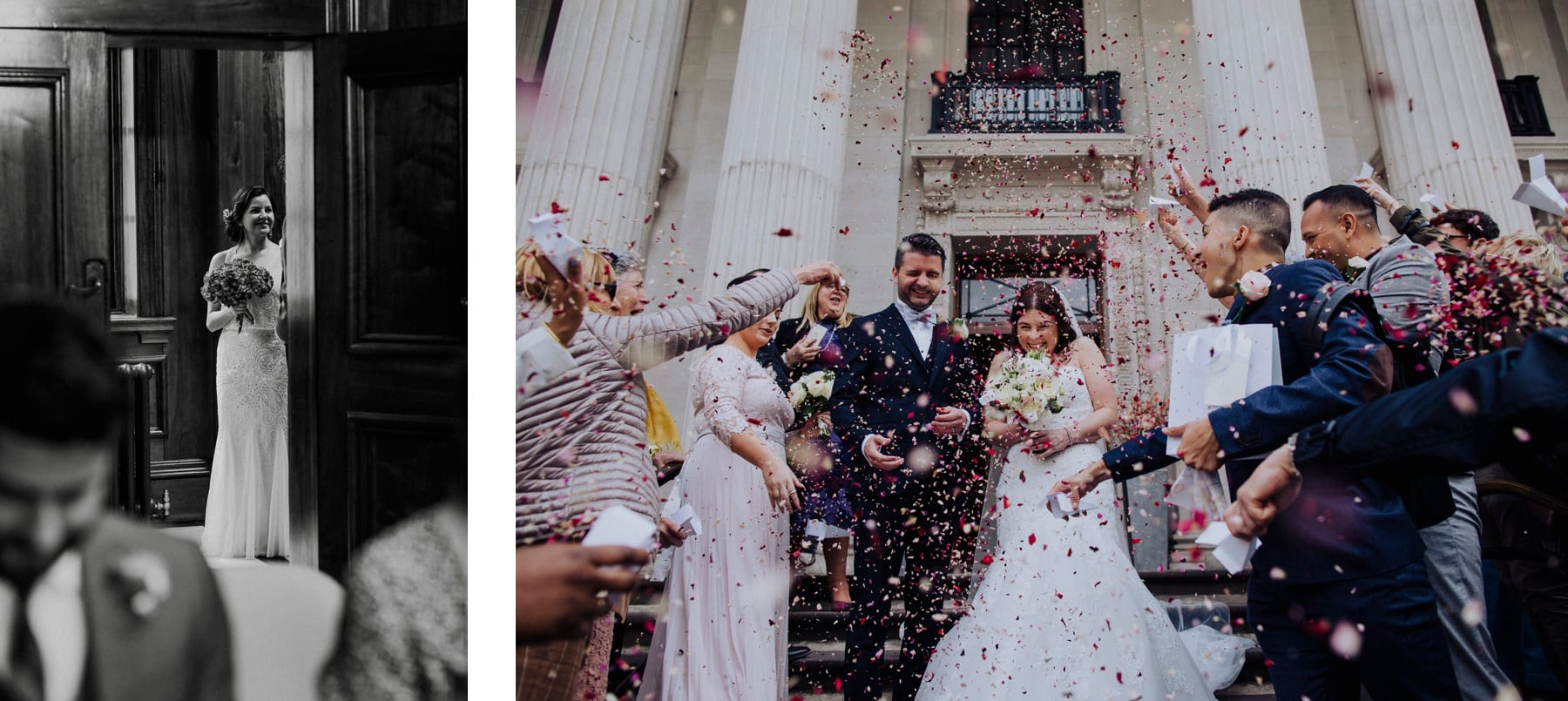 Photos of two different Marylebone Town Hall weddings