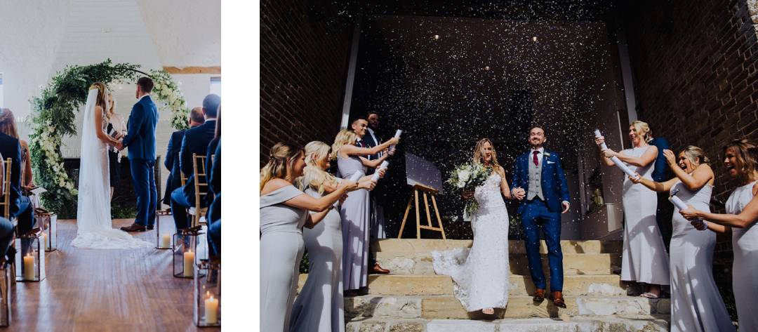Couple getting married at Bury Manor Barn, West Sussex