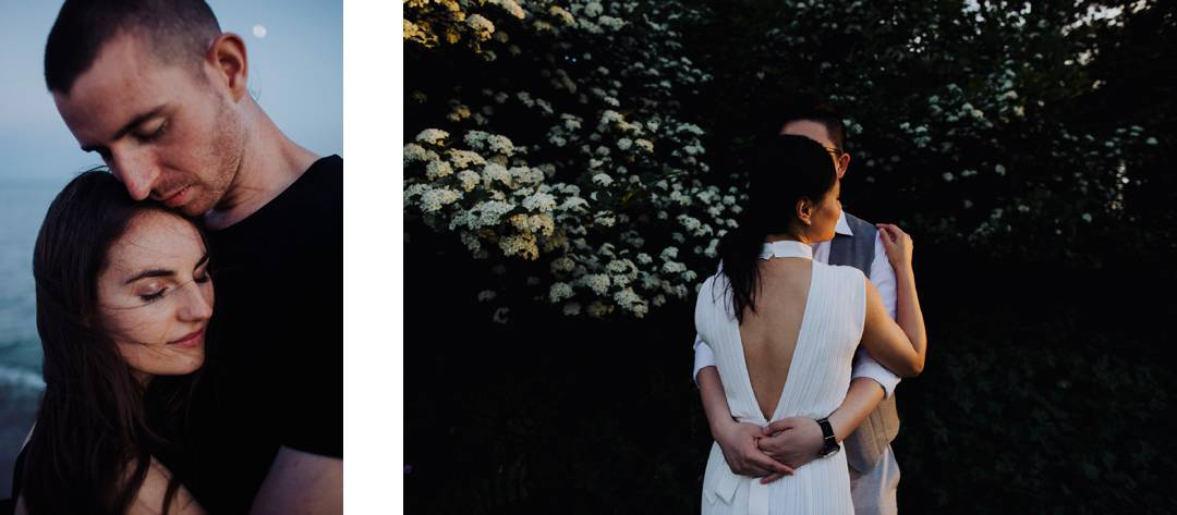 Couple romantically holding each other during their wedding
